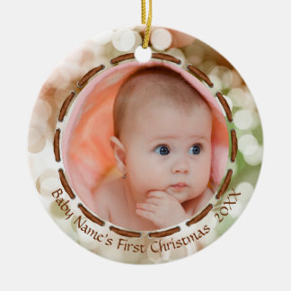 Ornamento De Cerâmica O primeiro Natal do bebê, Brown/verde/branco, foto