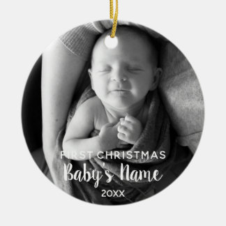 Ornamento De Cerâmica O primeiro Natal do bebê - caligrafia moderna