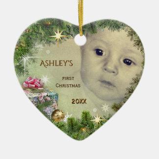 Ornamento De Cerâmica O primeiro Natal do bebê (customizável)