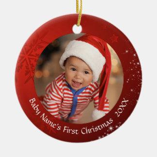 Ornamento De Cerâmica O primeiro Natal do bebê, floco de neve vermelho,