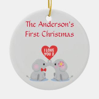 Ornamento De Cerâmica O primeiro Natal do casal