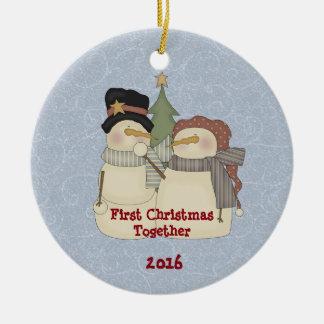Ornamento De Cerâmica O primeiro Natal neva junto casal