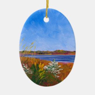 Ornamento De Cerâmica O Rio Delaware dourado