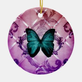 Ornamento De Cerâmica O roxo do Flourish roda borboleta boémia da