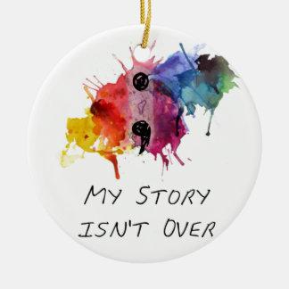 Ornamento De Cerâmica O semicolon minha história não se acaba