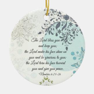Ornamento De Cerâmica O senhor Bênção Você, 6:24 dos números, Natal da