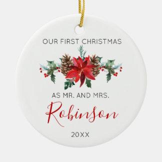 Ornamento De Cerâmica O Sr. do Natal do Newlywed e a Sra. inverno