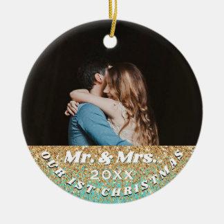 Ornamento De Cerâmica ø Sr. do Natal & Sra. Azul Ouro Brilho Foto