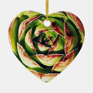 Ornamento De Cerâmica O Succulent Dble-tomou partido coração Ornanent