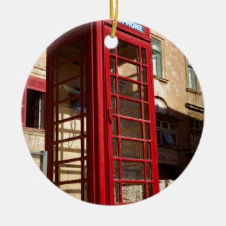 Ornamento De Cerâmica O Telephonebox vermelho