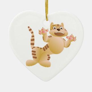 Ornamento De Cerâmica O tigre, o gato rosna e ameaça garras das patas