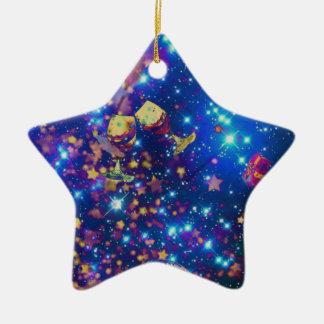 Ornamento De Cerâmica O universo e os planetas comemoram a vida com um