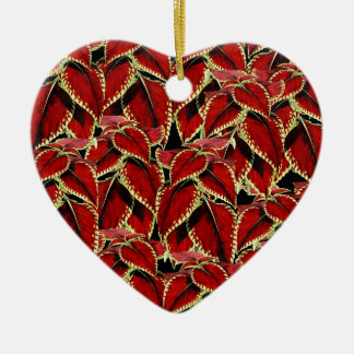 Ornamento De Cerâmica O vermelho deixa o teste padrão no preto