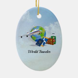 Ornamento De Cerâmica O viajante de mundo, embalado e apronta-se para ir