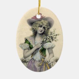 Ornamento De Cerâmica O Victorian louro bonito BO pequena olha a senhora