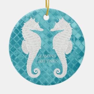 Ornamento De Cerâmica O vidro branco do mar do Aqua dos cavalos marinhos