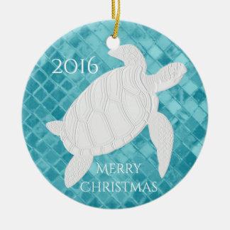 Ornamento De Cerâmica O vidro do mar do Aqua da tartaruga de mar