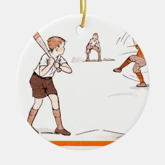 Ornamento De Cerâmica O vintage caçoa o jogo de basebol dos meninos