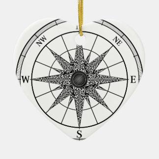 Ornamento De Cerâmica O vintage do compasso aumentou