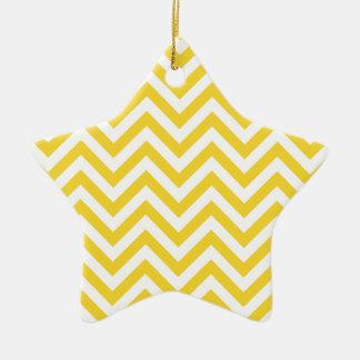 Ornamento De Cerâmica O ziguezague amarelo e branco listra o teste