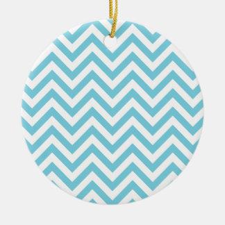 Ornamento De Cerâmica O ziguezague azul e branco listra o teste padrão