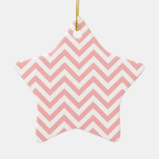 Ornamento De Cerâmica O ziguezague cor-de-rosa e branco listra o teste