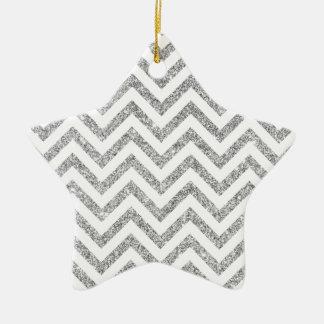 Ornamento De Cerâmica O ziguezague de prata do brilho listra o teste