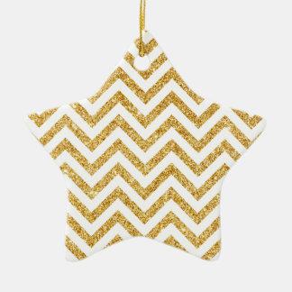 Ornamento De Cerâmica O ziguezague do brilho do ouro branco listra o