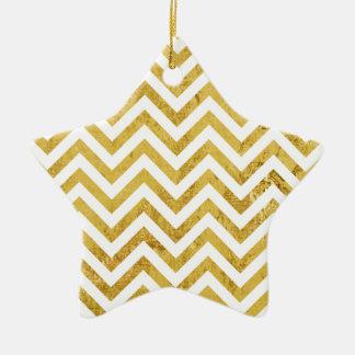 Ornamento De Cerâmica O ziguezague elegante da folha de ouro listra o