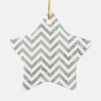 Ornamento De Cerâmica O ziguezague elegante da folha de prata listra o