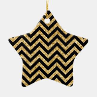 Ornamento De Cerâmica O ziguezague preto do brilho do ouro listra o