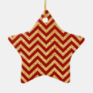 Ornamento De Cerâmica O ziguezague vermelho do brilho do ouro listra o