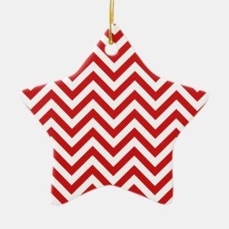 Ornamento De Cerâmica O ziguezague vermelho e branco listra o teste