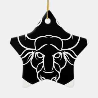 Ornamento De Cerâmica O zodíaco assina o ícone de Bull do Taurus