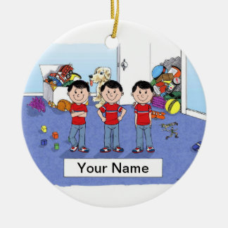 Ornamento De Cerâmica Objectivas triplas, meninos