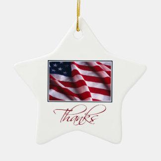 Ornamento De Cerâmica Obrigados patrióticos da bandeira americana no
