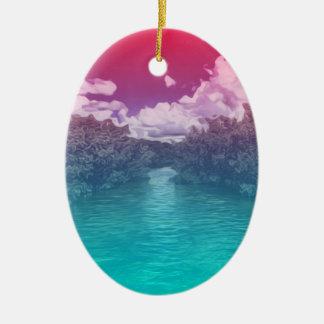 Ornamento De Cerâmica Oceano azul cor-de-rosa Trippy da chave dos