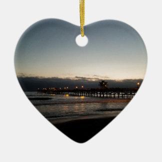 Ornamento De Cerâmica oceano Califórnia do nighttime do cais de San