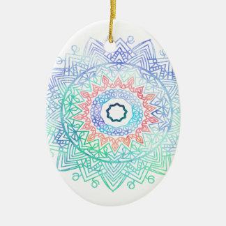 Ornamento De Cerâmica Oceano-madala. rosa azul do aqua