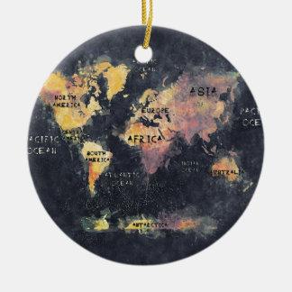 Ornamento De Cerâmica OCEANOS e continentes do mapa do mundo