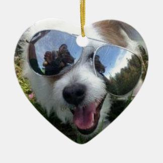 Ornamento De Cerâmica Óculos de sol no FUTURO BRILHANTE do cão para MIM