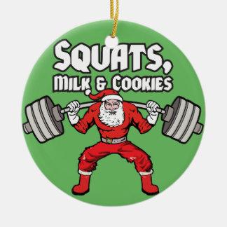 Ornamento De Cerâmica Ocupas, leite e biscoitos - Papai Noel