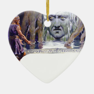 Ornamento De Cerâmica Odin na frente de Mimir
