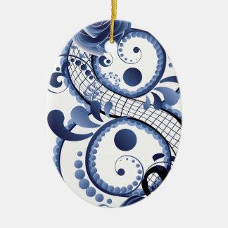 Ornamento De Cerâmica Oito florais azuis
