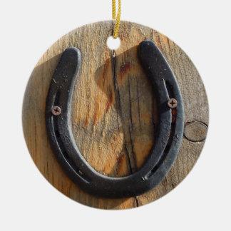 Ornamento De Cerâmica Olhar de madeira em ferradura ocidental rústico
