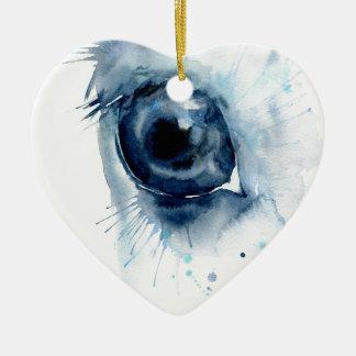 Ornamento De Cerâmica Olho abstrato do cavalo da aguarela