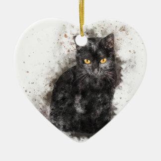 Ornamento De Cerâmica Olhos do amarelo do gato preto