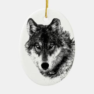Ornamento De Cerâmica Olhos inspirados brancos pretos do lobo