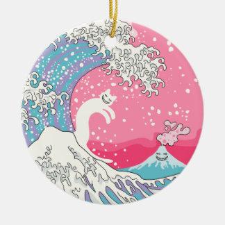 Ornamento De Cerâmica Onda cor-de-rosa de Psychodelic Bubblegum Kunagawa