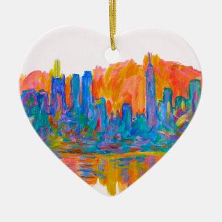 Ornamento De Cerâmica Onda da cor de Manhattan